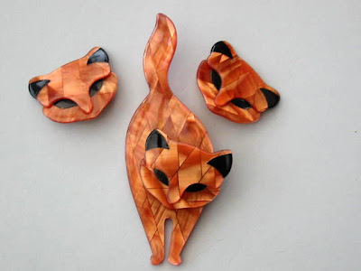 Lea Stein cat brooch and earring