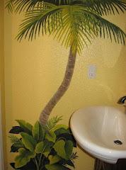 Palm Bathroom Mural 2