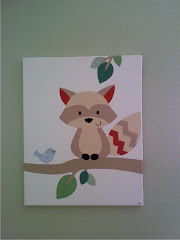 Nursery Raccoon canvas painting