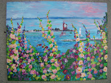 Round Island view with Hollyhocks