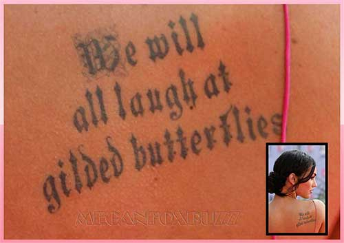 megan fox tattoos rib. a megan fox quote tattoo.