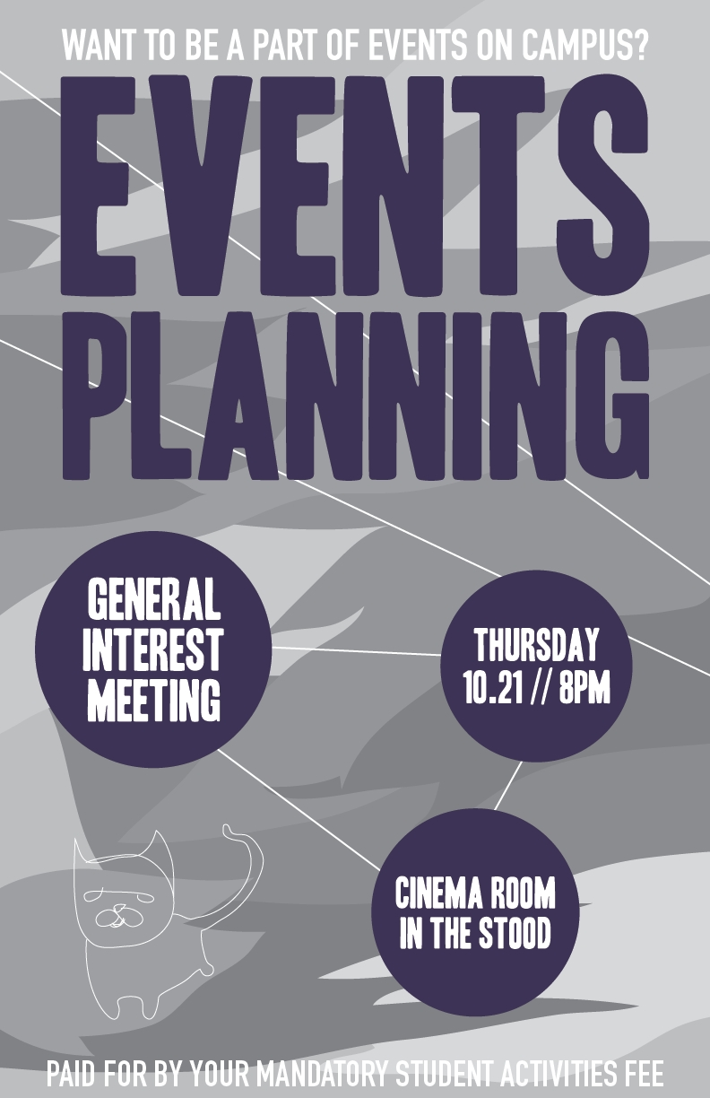 Briana Williams' flyer for Events Planning Meeting at Purchase