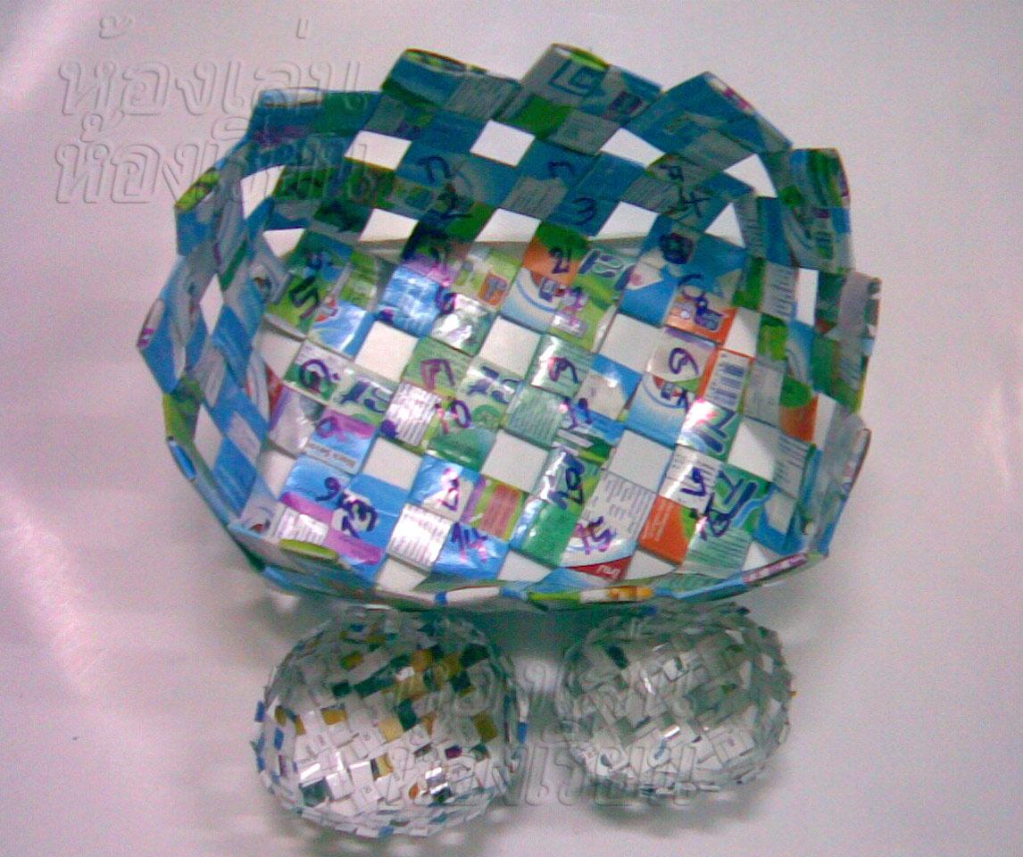 วิธีทำกระเป๋า กระเป๋ากล่องนม วิธีสาน วิธีทำ กระเป๋า กล่องนม ของใช้แล้ว ลดขยะ รีไซเคิล วัสดุเหลือใช้ กระเป๋ากระดาษ กระดาษ  diy howto ไอเดีย