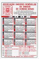 Calendário 2008 das Colheitas de Sangue em Vendas Novas