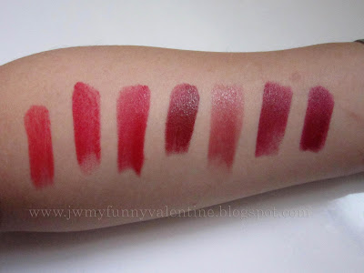 Red lipstick swatches:NARS Heat Wave, Lipstick queen red sinner, Chanel rouge coco gabrielle, MAC Dubonnet, NARS Gypsy,Dolce and Gabbana Ultra, MAC So Scarlet