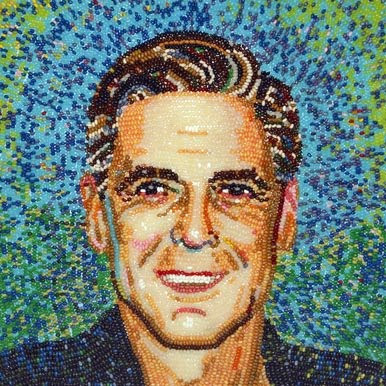 The masterpieces include everything from portraits of George Clooney and ...