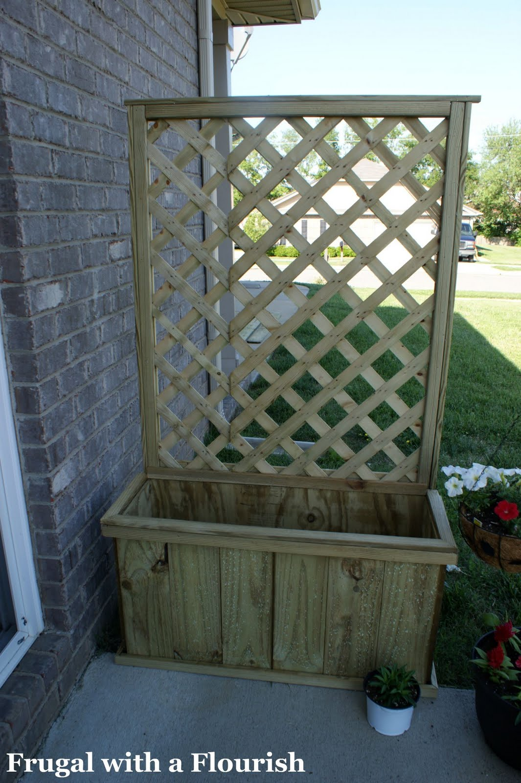 Frugal with a flourish how to build a lattice planter box for Deck trellis