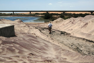 Dr. Hu Berry walking in the Swakop River