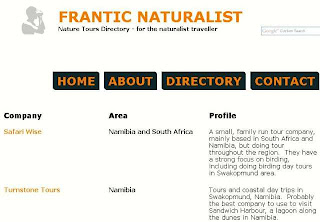 Frantic Naturalist nature tours directory
