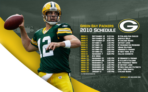 Green Bay Packers 2010 Schedule Wallpaper Featuring Aaron Rodgers