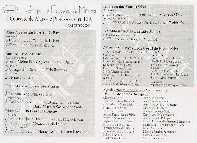 Promoção e Direção Geral do I Concerto do GEM (dentro)