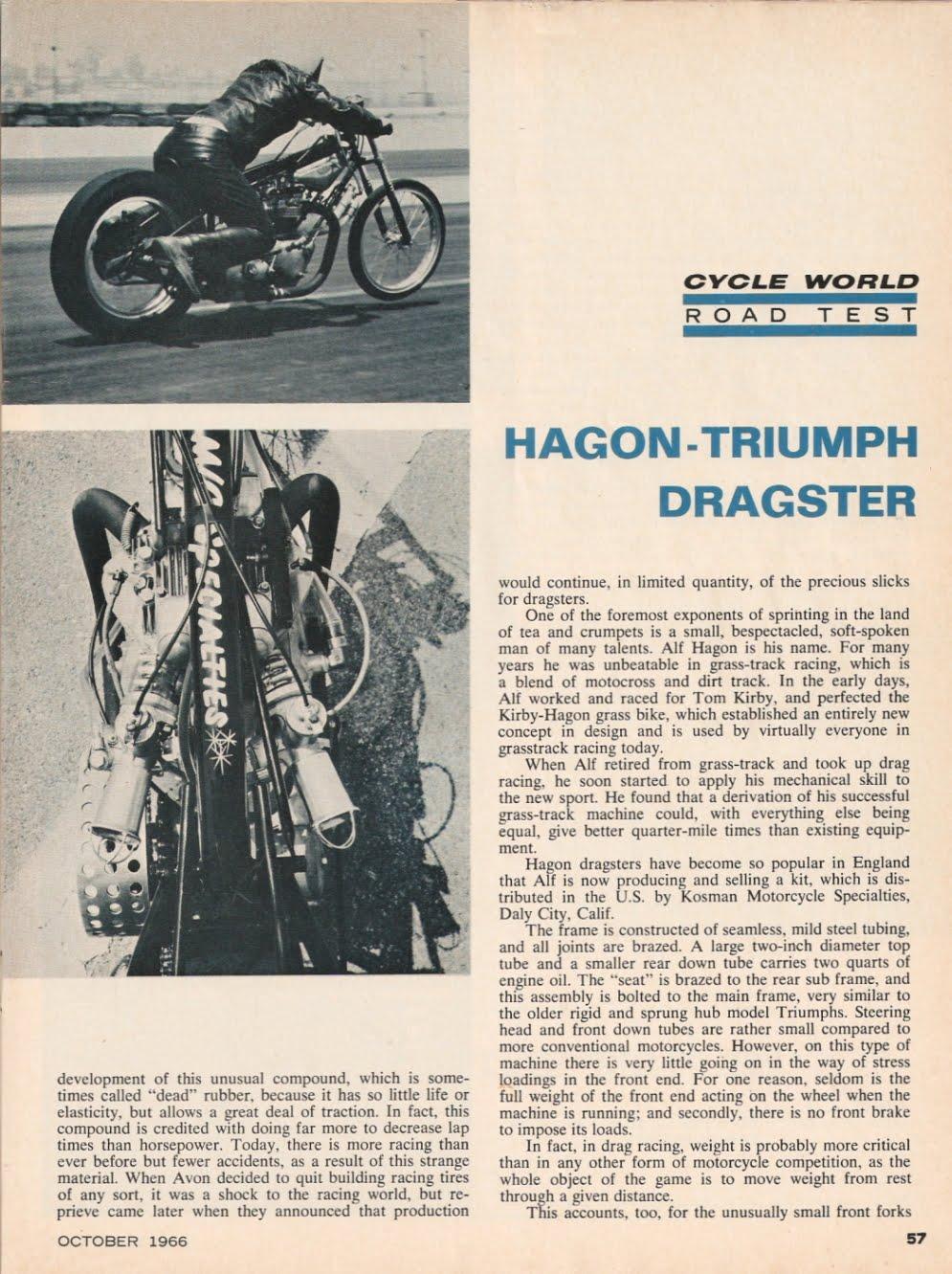 Kosman racing products - Hagon Triumph Drag Bike