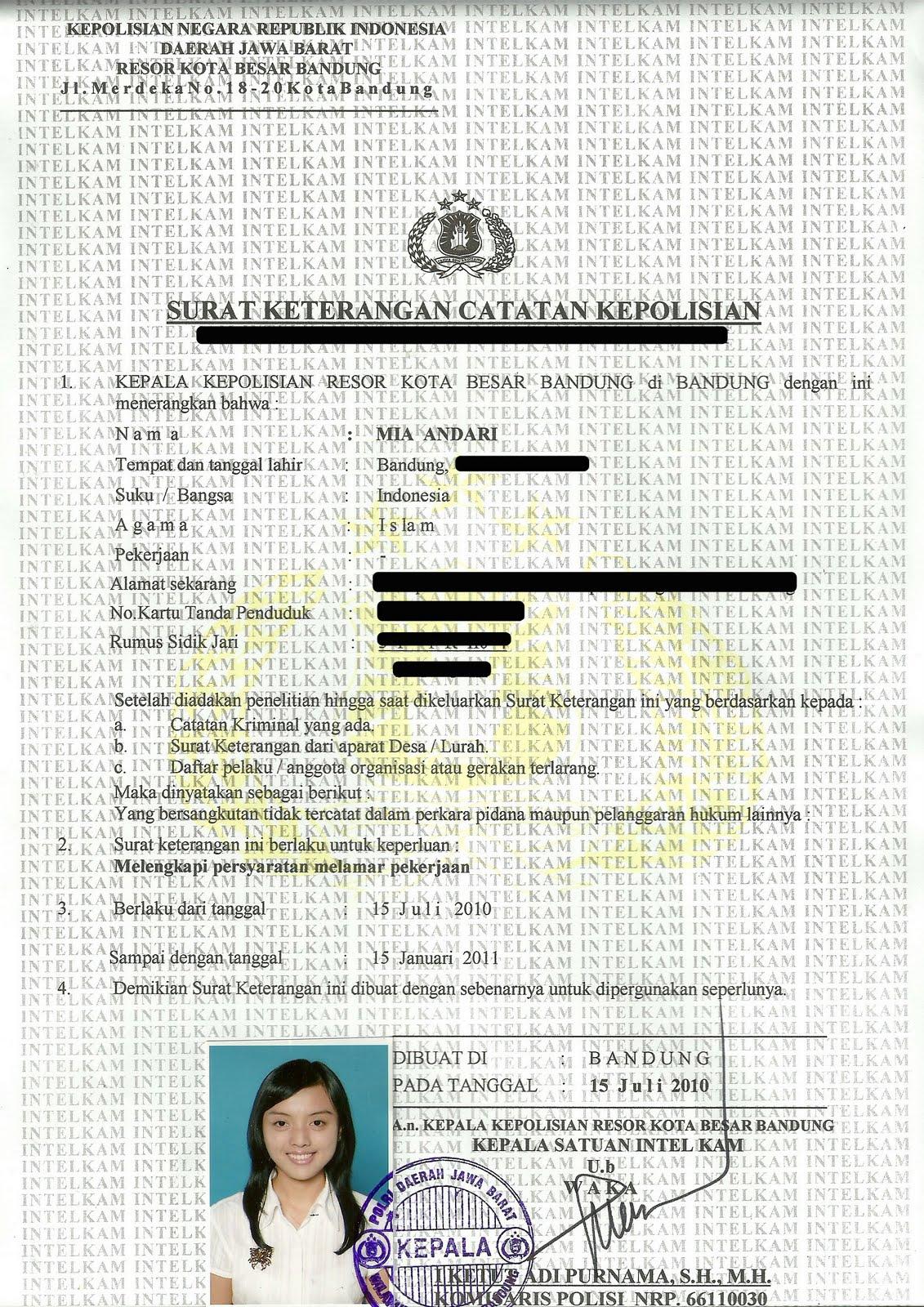 Contoh Bentuk Suatu SKCK (Gambar / Foto Scan) - meismya