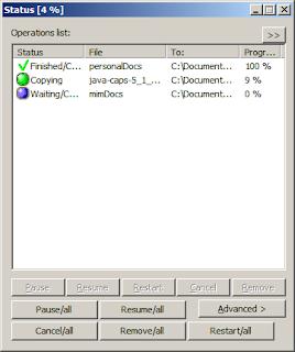 Screenshot de CopyHandler en funcionamiento