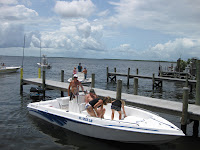 Customers arrive by boat at Bert's Bar & Grill, Matlacha, FL