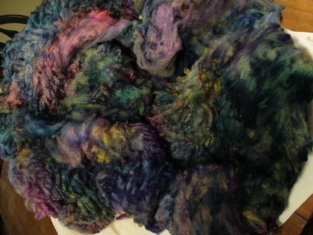 Rich hand dyed Tunis fleece