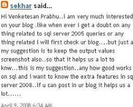 My First feedback on my blog