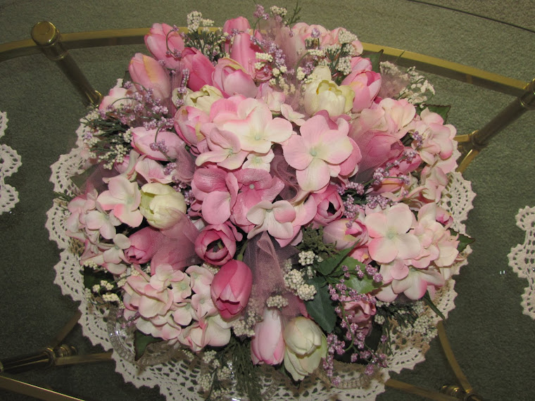 Pink Hydrangea Centerpiece on Glass Coffee Table