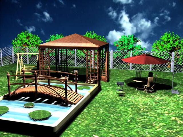 Mes travaux espace ext rieur jardin visiter 3ds max for Jardin a visiter