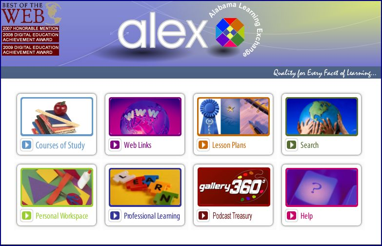 Picture of the Alabama Learning Exchange (AELX) Homepage