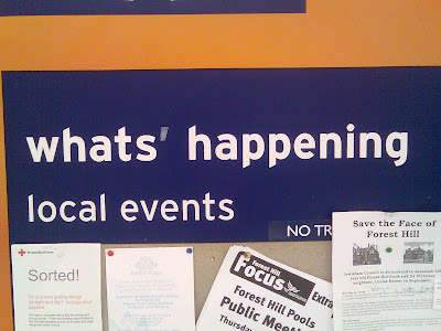 A supermarket noticeboard reading Whats apostrophe happening
