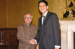 David Miliband with Indian minister of external affairs Pranab Mukherjee