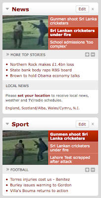 BBC News news and sport widgets