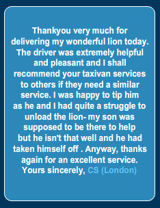 Screengrab from TaxiVan.net regarding the successful delivery of a lion