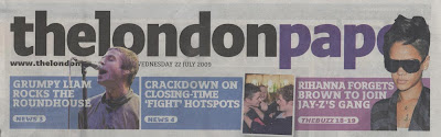 Partially obscured masthead for thelondonpaper
