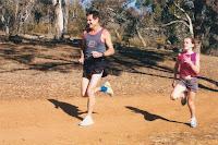 Jim sprints with childlike abandon