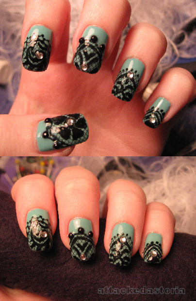 lace appliques on my nails but i never have lace i improvised by using