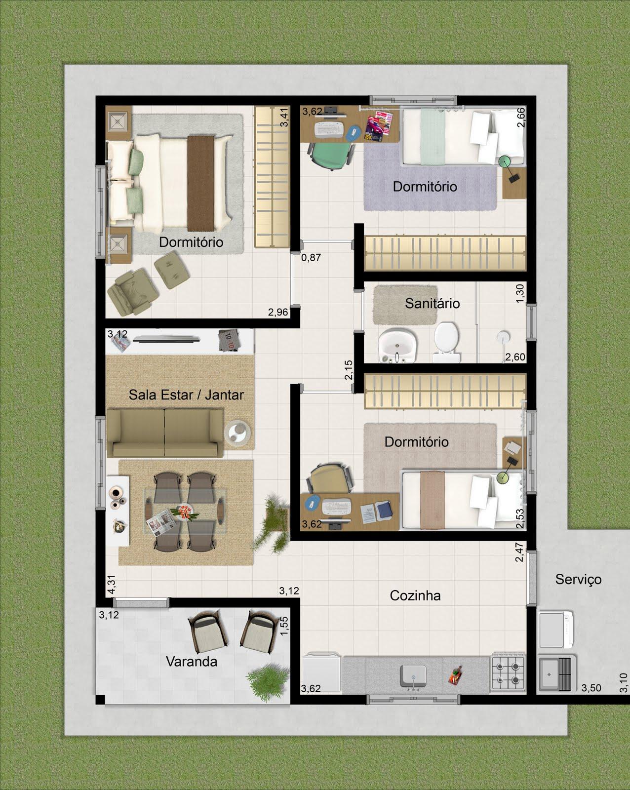 Chapéu do Sol Incorporadora: Casa de 68 60m² com 3 quartos #506122 1276 1600