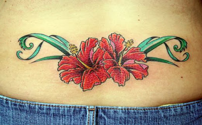Hawaiian Flower Lower back Tattoo