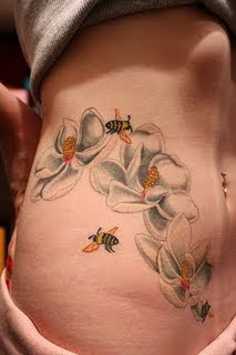 Honey Bee Flower Tattoo Abdomen tattoo Design