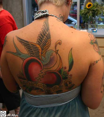 Bird and Heart Tattoo Design on Female Back
