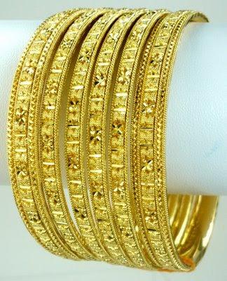 Gold Bangles - Set of Six