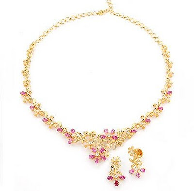 Pink Stone Gold Necklace  and earrings