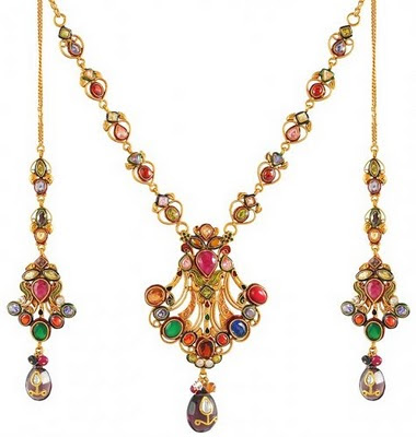 latest colourful stones gold necklace set with earrings
