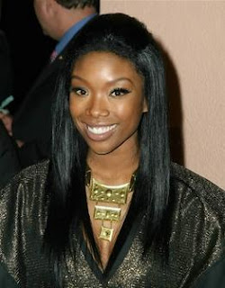 Celebrity Brandy Straight Black Hairstyle
