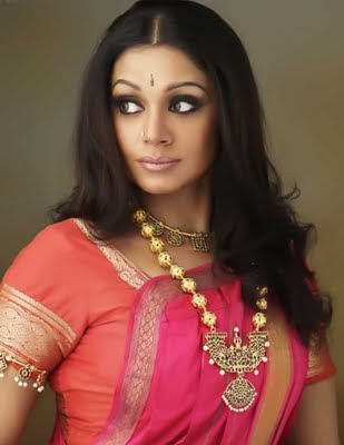 Shobhana in Indian Traditional Jewelry and Silk Saree