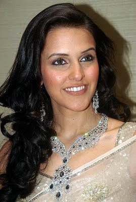 Neha Dhupia looks stunning in Designer Diamond Necklace