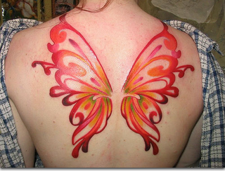 Red colour Butterfly Wings Tattoo on Back