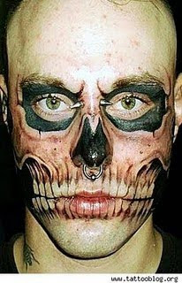 Monster Style Tattoo on Face