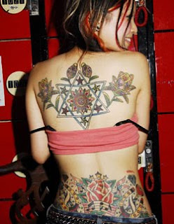 Beautiful Flower Tattoo on Sexy Girl Back