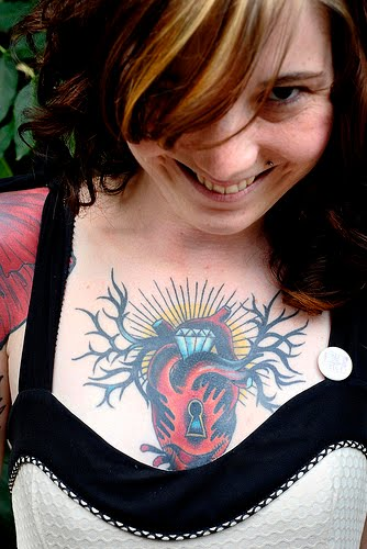 Heart Tattoo with a Keyhole on Girls Chest