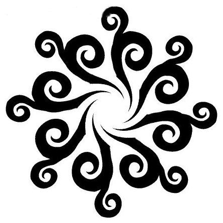 (Dayak tribal tattoo eggplant flower design)