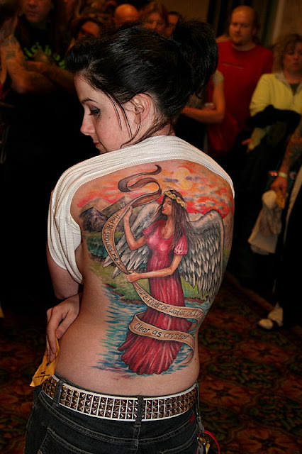 full back tattoos women. Tattooed Women Full Back