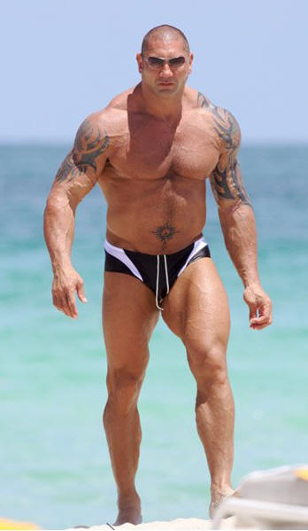 WWE Wrestler Batista Showing off his Tattoos