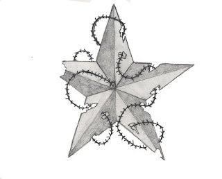 Nautical Star Tattoo with Barbed Wire