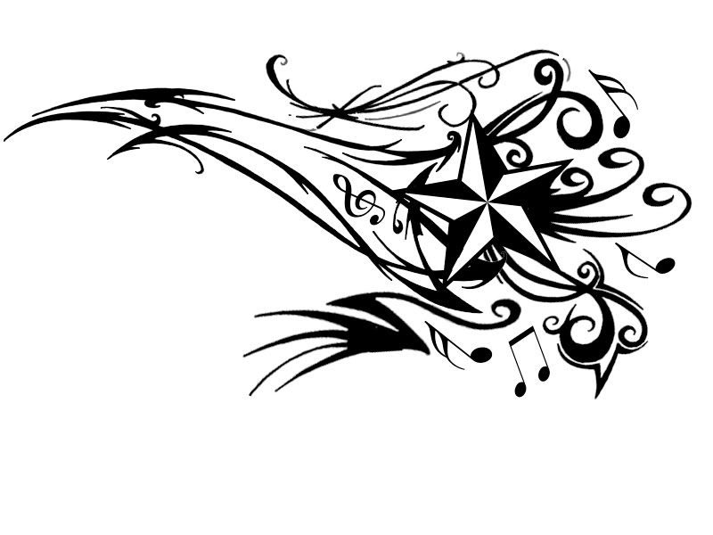 Young Guns Tattoo Concept: Star with Musical Notes tattoo Design